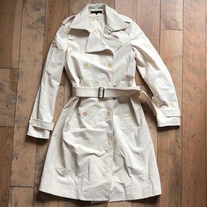 Lk NEW THEORY ivory trench coat jacket size medium